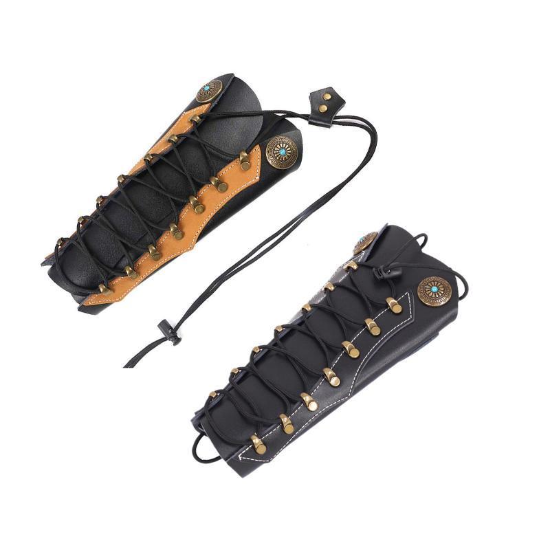Couro Archery braço protector para a caça com Hardware Fixadores exterior Caça Recurve Bow Esporte