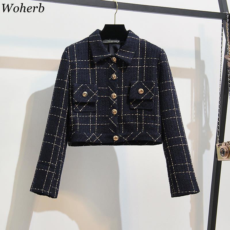 Woherb 2020 İlkbahar Yeni Ekose Coat Kadınlar Koreli Cepler Ofisi Bayanlar Kısa Coats ile Casual Blazer Ceketler