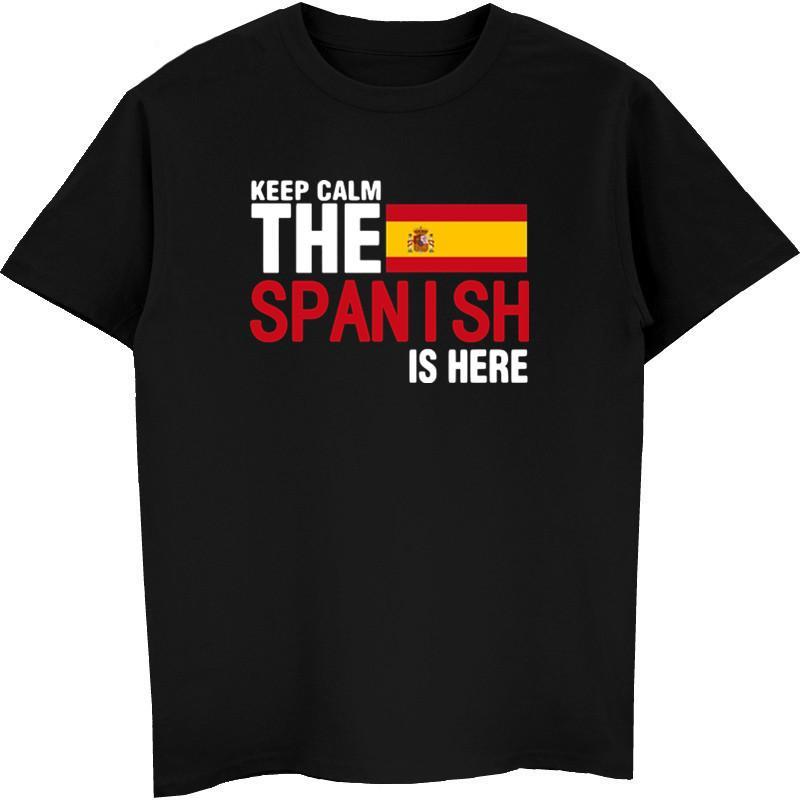 mantener la calma temer al español es aquí hombres de la camiseta de la bandera de la novedad tees de algodón masculina camisas de manga corta España encabeza streetwear Harajuku