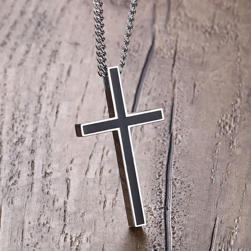 Modyle Classic Black Jesus-Kreuz-Halsketten-Anhänger-Frauen Mann-Edelstahl-Gebet Kruzifix Männliche Kette Halskette Schmuck