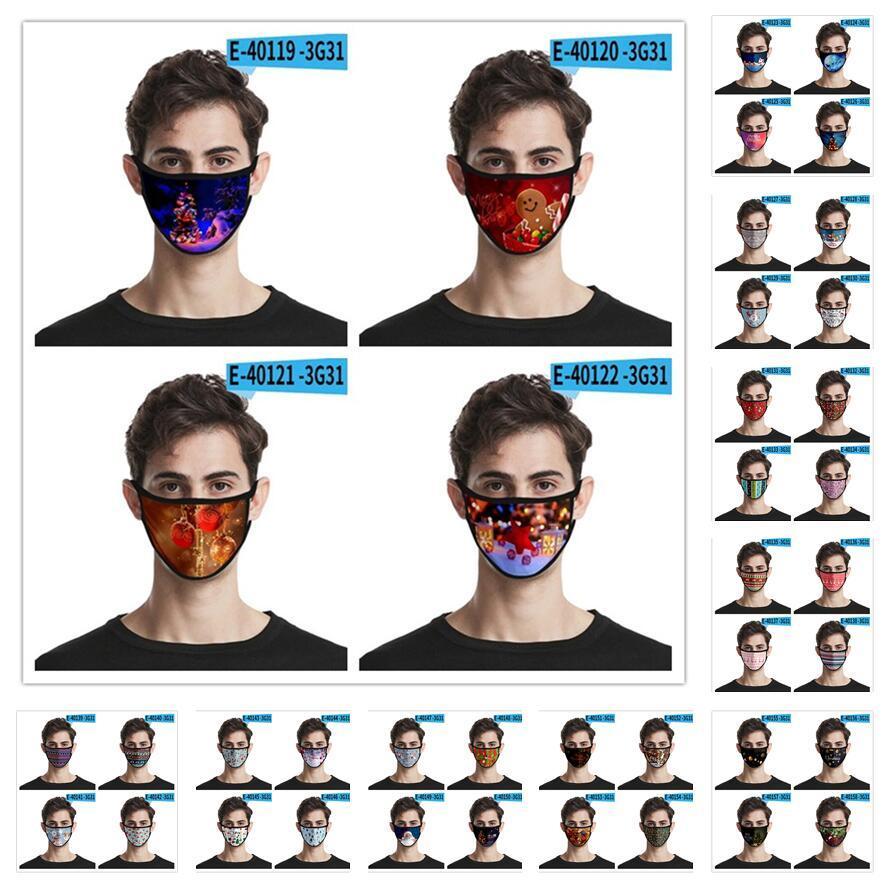 Weihnachten Masken Weihnachten Theme Gesichtsmasken Anti-Staub-Mund-Abdeckung Waschbar Wiederverwendbare Partei-Schablonen-freies Verschiffen