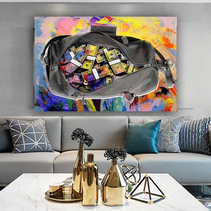 Toile peinture sécuriser le sac peinture à l'huile Posters d'argent et impression Picture de l'art mural pour salon décoration de la maison sans cadre
