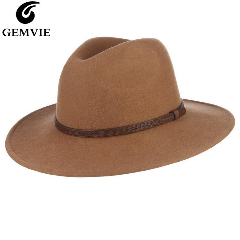 GEMVIE Nueva unisex de la vendimia plano ancho de ala 100% lana sombrero de fieltro fieltro pulseras cuero sombrero para las mujeres hombre cálido invierno casquillo del jazz de Panamá