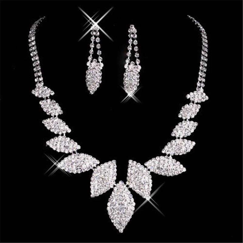 15045 Best Selling Unique Wedding Bridal Bridesmaids Rhinestone Necklace Earrings Jewelry Set Prom In Stock Hot Sale