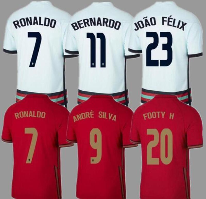 Le maglie da calcio del Portogallo RONALDO JOAO FELIX NEVES BERNARDO CANCELO RUBEN NEVES 20-21 via bianco squadra nazionale