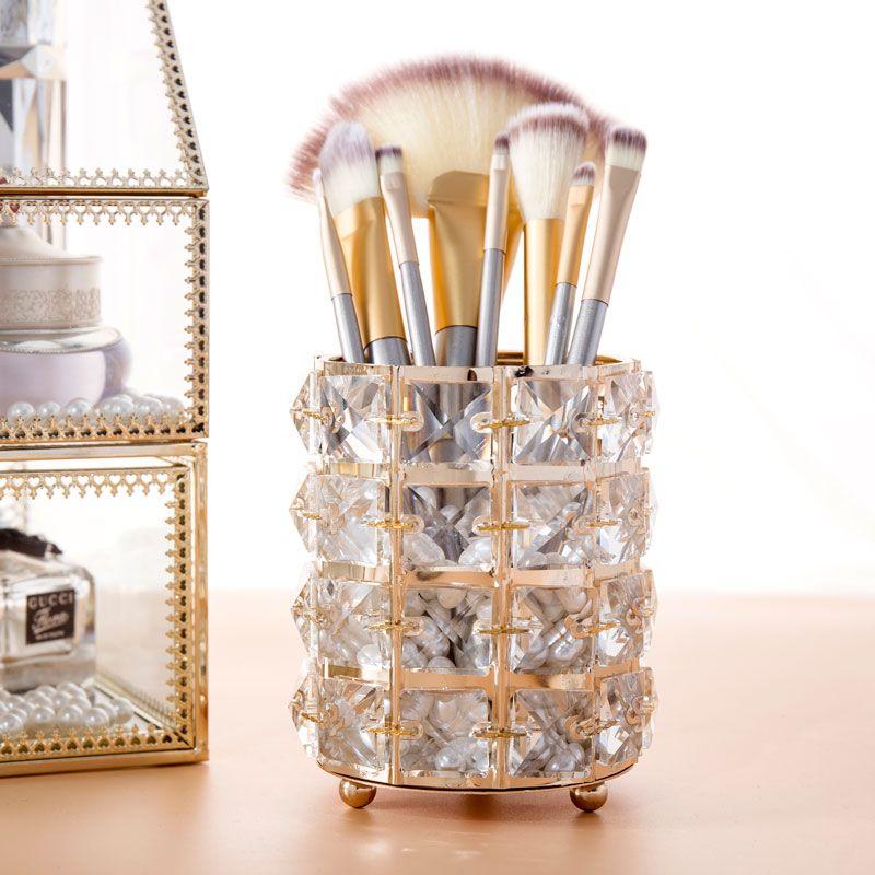 Estilo europeu de Metal Cristal de escova da composição Organizador Lápis de sobrancelha Comb pérola de jóias caixa de armazenamento cosméticos