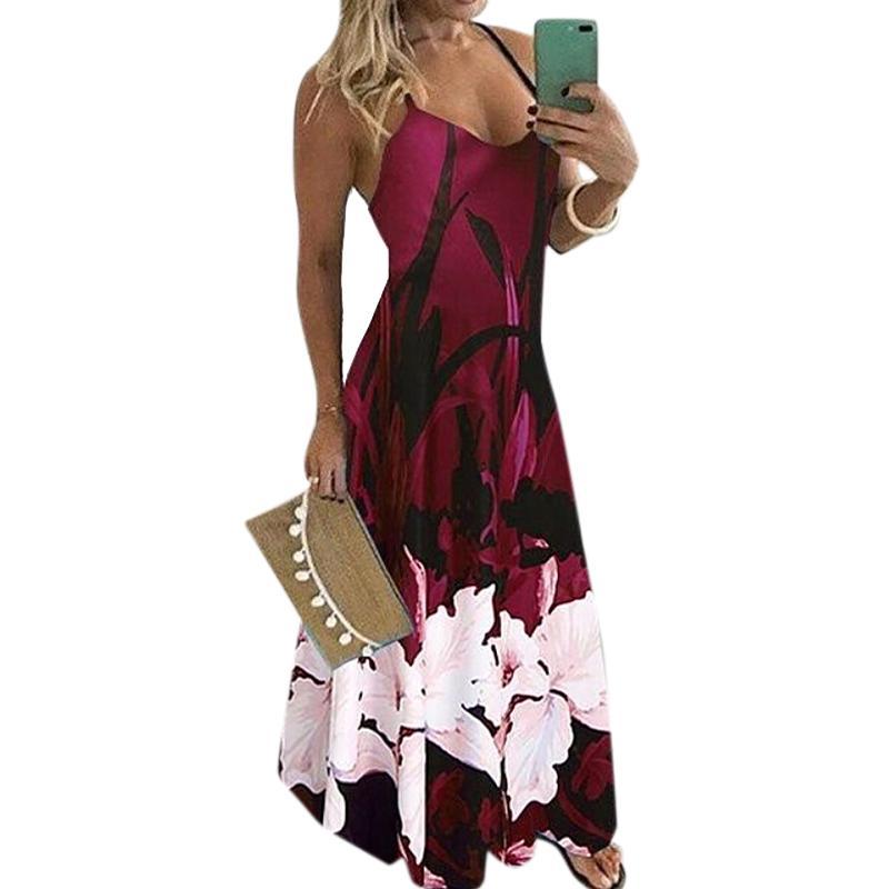 캐주얼 드레스 여성 드레스 플러스 사이즈 2021 패션 여름 긴 꽃 인쇄 우아한 숙녀 옷