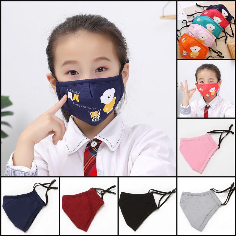 50pcs dhl enfants enfants dessin animé coton tissu pm2.5 lavable anti-haze masque masque anti-poussière masque non tissé masques de tissu coloré