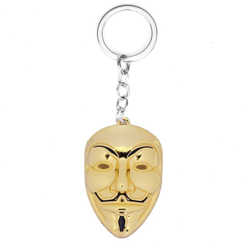 Mujeres V de Vendetta cadena de los hombres colgante llavero llavero Máscara Película regalos titular de la joyería 4styles Gga2652 BWG5 #