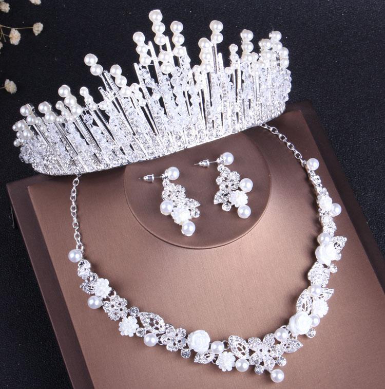 Серьги Ожерелье Роскошные Кристаллические Жемчужные Свадебные Ювелирные Изделия Горный Хрусталь Choker Tiara Нигерийские Африканские Бусы Ожерелья Свадьба Набор