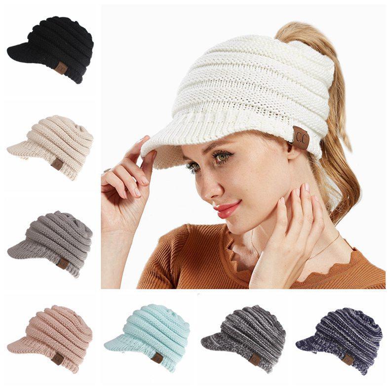 wholesale Winter CC Ponytail Hats 12 Colors Knitted Baseball Beanie Warm Caps Crochet Hat Messy High Bun Cap Big Kids Hats 50pcs