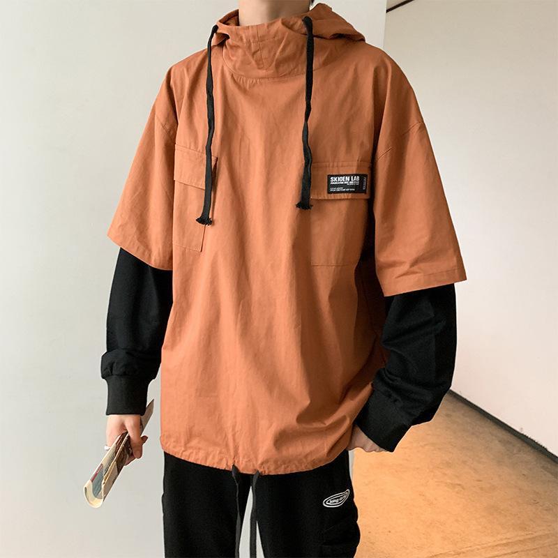 EWQ / erkek giyim 2020 sonbahar yeni Yanlış İki adet İş Kıyafetleri sweatshirt erkek patchwork renk bloğu Tide Gevşek 9Y1059 hoodies