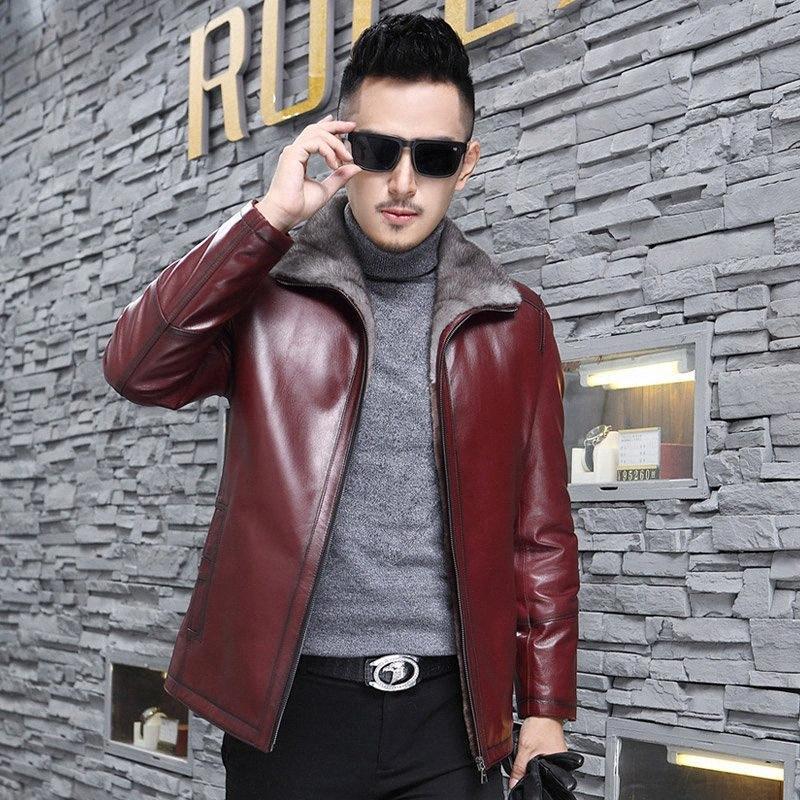 Giacca in pelle genuina giacca invernale di lana Uomini Natural Fur Coat degli uomini del collare di capra del cappotto di pelle Plus Size 5XL Erkek Mont 0825 LrHG #
