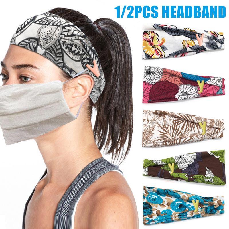 Bandas para la cabeza con botones para las enfermeras diadema para la cubierta de la cara Holding Sweat yoga de la venda del entrenamiento Sweatbands SEC88