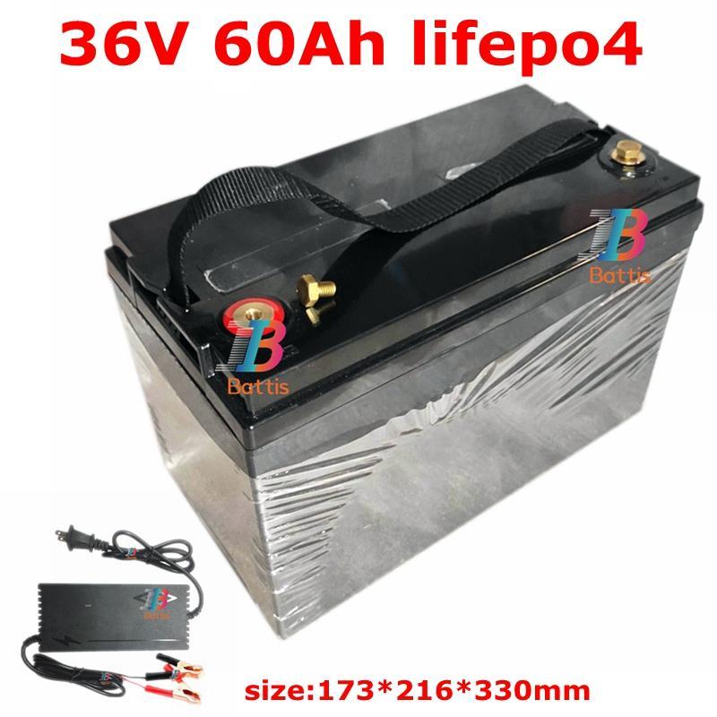 водонепроницаемый аккумулятор 36V 60AH Lifepo4 с BMS для 1500W скутер велосипед Трехколесный солнечной резервного питания гольф + 5A зарядное устройство