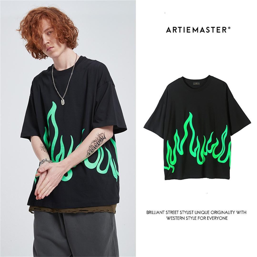 ARTIE erkek giyim   2020 yüksek sokak moda markası bilish tişört erkek gevşek moda kısa kollu 96V9 baskılı Eilish