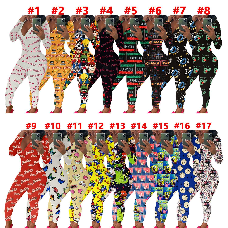 Mujeres del mono delgado atractivo de las letras ocasionales de Dibujos animados patrón impreso V-cuello de la manga larga Pantalones damas a domicilio pijamas Onesies mamelucos 2020