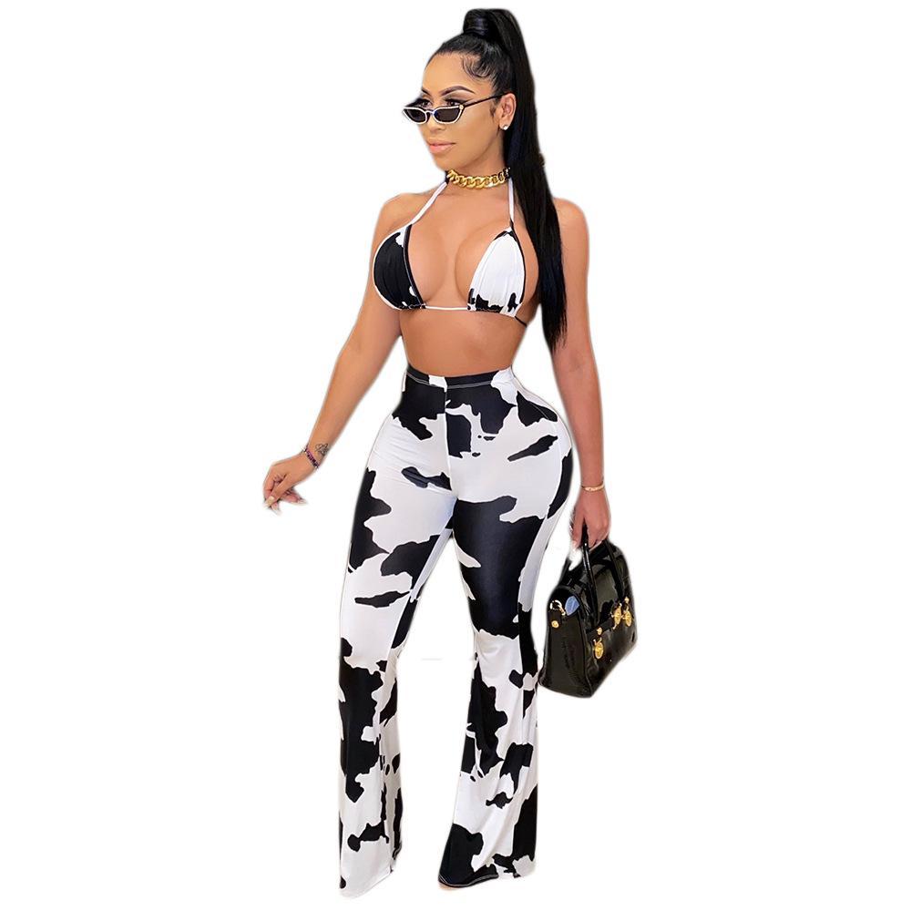 Reizvolle beiläufige Skinney Ausgestelltes lange Hosen mittlere Taillen-Kuh-Druck-Multi Color Hose Mode Damen Kleidung