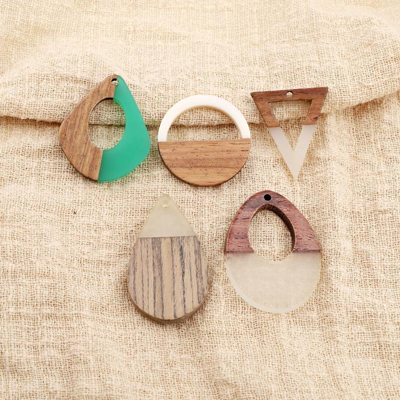 Encantos retrô mulheres verdes dangle brinco resina pingente de madeira achados de madeira handmade colar oco cair brincos diy jóias fazem