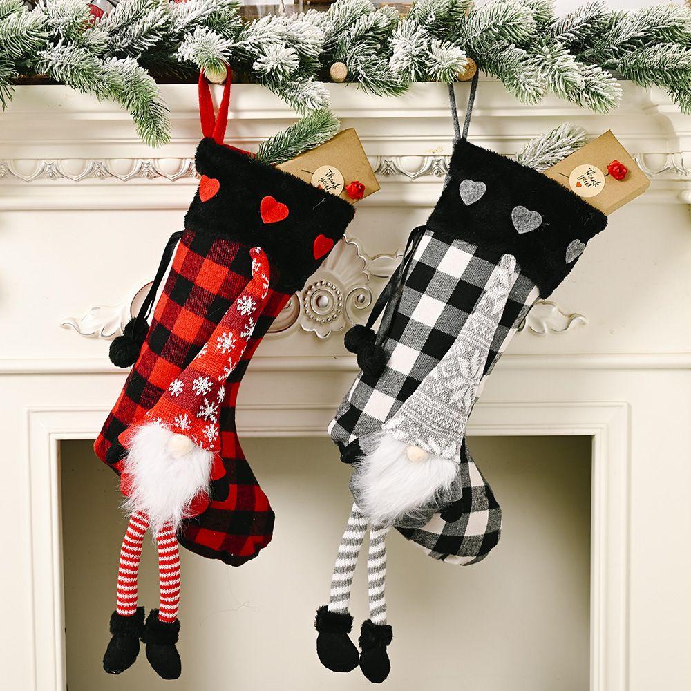 Christmas Stockings Burlap Plaid Style Snowflake Santa Snowman Reindeer Plush Faux Fur Cuff Xmas Decor HHF1687