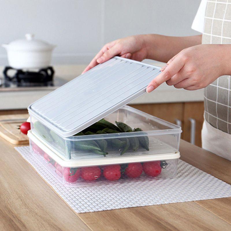 Square Plastic Transparent Storage Box Multi-Function Modern Home Kitchen Refrigerator Single-Layer Sealed Storage Box
