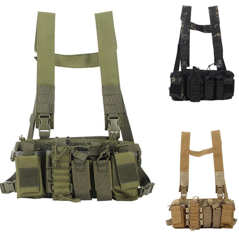 Tactical Vest Chest Harness Радио Передний Чехол кобура Molle Vest Rig сумка Охотничий Радио талии мешок регулируемый