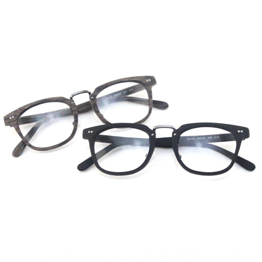 DfDUJ Yeni moda plaka Düz kare yeni ürün klasik ahşap tahıl düz gözlük çerçevesi gözlük