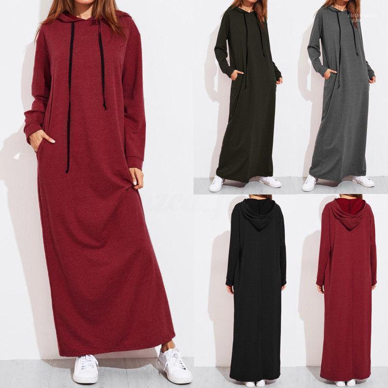 Sleeve Plus Size Spalte Bekleidung Damen Herbst Winter Lässige Kleidung Frauen Designer Hoodie Kleider mit Kapuze lange