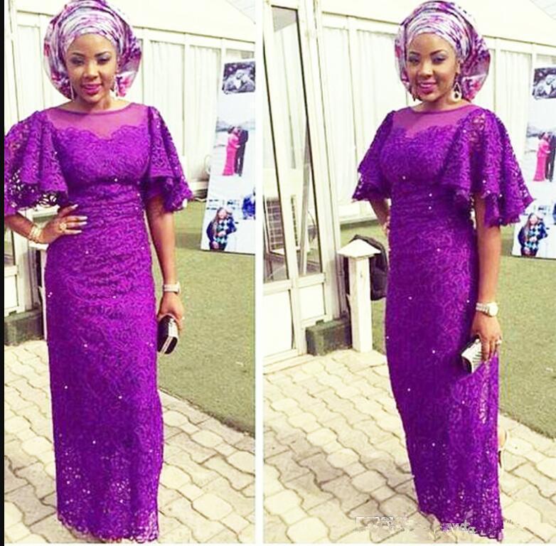 South African Purple Prom Dresses 2021 Sheer Neck Short Sleeves Floor Length Custom MAde Formal Evening Wears Cheap Women Dress