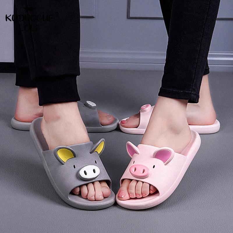 Lindo casal Macio Chinelos desenhos animados sólidos Shoes Pig antiderrapante bonito Plano Casual Sandals Início Banho Indoor Sweet Summer Mulheres KoEz #