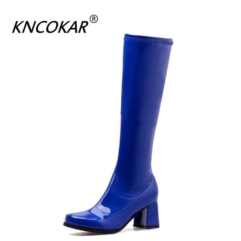 New Outono / Inverno 2020 Cabeça Redonda Chunky Botas para mulheres saltos altos e Patent couro sexy botas altas para Mulheres