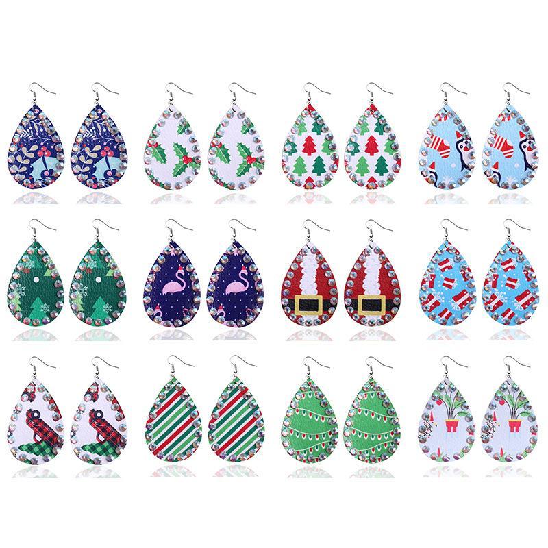 여성 여자 산타 클로스 엘크 인쇄 보석 선물 골동품 수제 따라 다니다 귀걸이를위한 패션 눈물 크리스마스 가죽 드롭 귀걸이