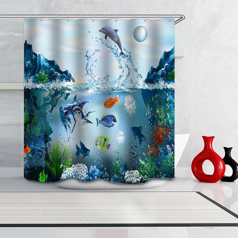Dolphin 3D Digital impressão de alta qualidade Banho de poliéster impermeável cortina de chuveiro 12 gancho da cortina de banho Gadgets Partition