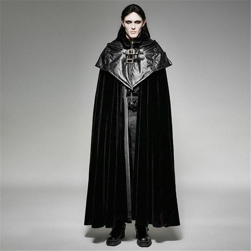 Escudo Serie oscuro flojo de la cremallera con capucha para hombre del steampunk Capa larga del palo Capa casual Vampiro Negro Chaqueta de cuero para mujer abrigos paño grueso y suave de Leath 72s2 #