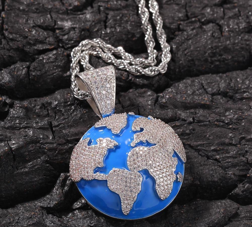 Hip Hop The Blue Shape Terre Collier Fashion Pendentif en cuivre et l'environnement de conception simple Zircon98