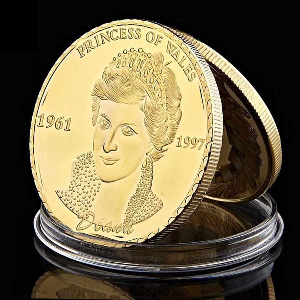 Moeda Comemorativa Última Rosa de Inglaterra Princesa Diana de Gales uma onça banhado a ouro Souvenir Coin