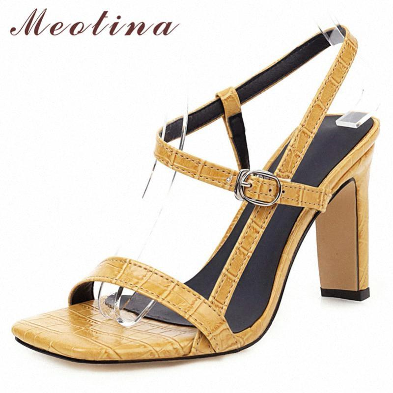 Meotina Summer Sandals Shoes Women Buckle Thick Heels Party Shoes Elegant Super High Heel Sandals Ladies Red 2020 Big Size 34 46 Nude gJvl#