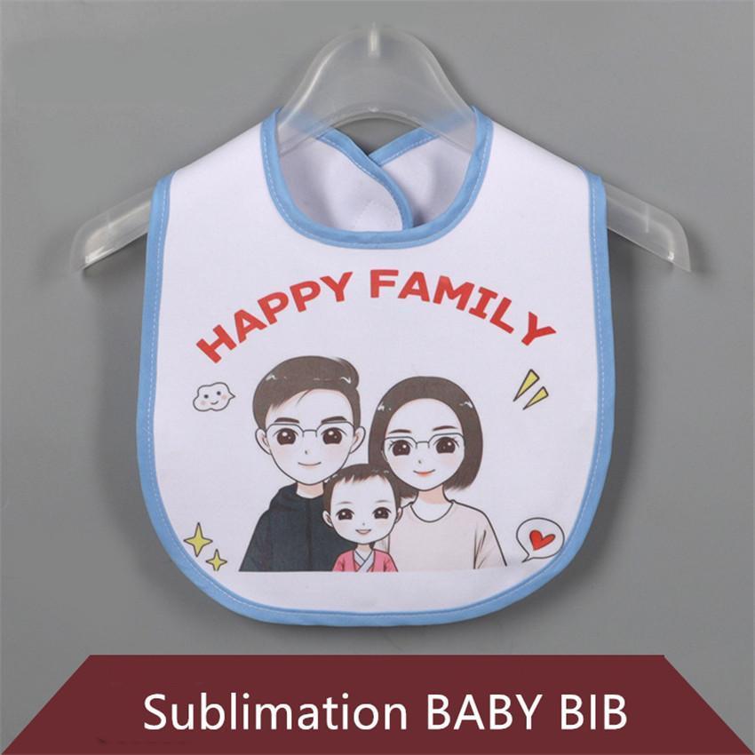 Sublimation Blank Bavoir Bricolage Transfert Thermique Bébé Burp Chiffons Kid Bib étanche produit 5 couleurs DHL Livraison gratuite
