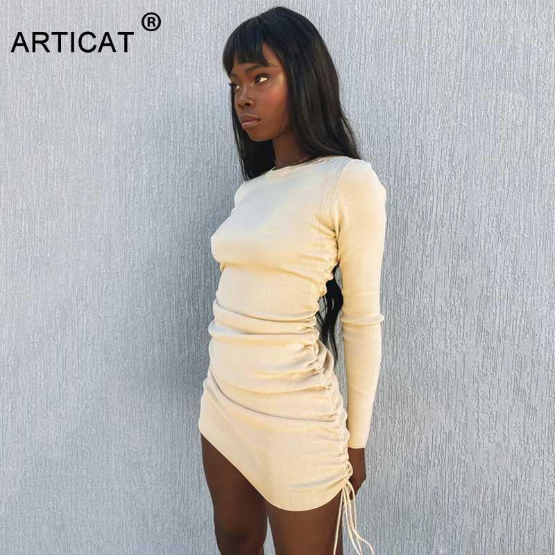 Articat lavorato a maglia con coulisse fasciatura sexy abiti a maniche lunghe a vita alta 2020 Autunno Inverno donne mini Bodycon del partito del vestito increspato