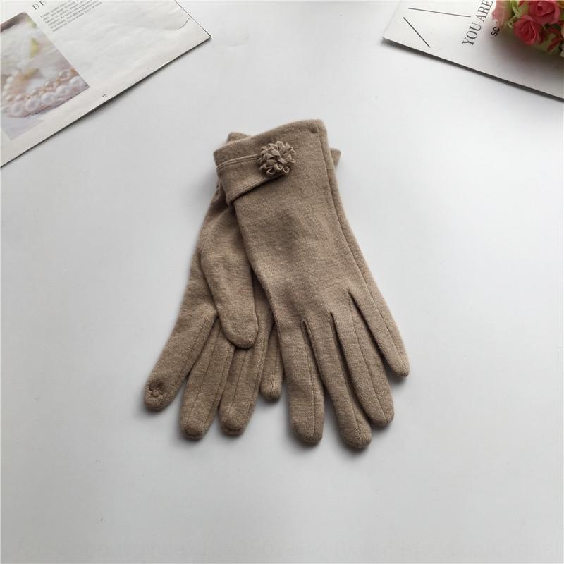 f4Mlj automne et chaud de laine de la mode des femmes d'hiver et des gants en trois dimensions fleurs au chaud gants écran tactile doigt minceur