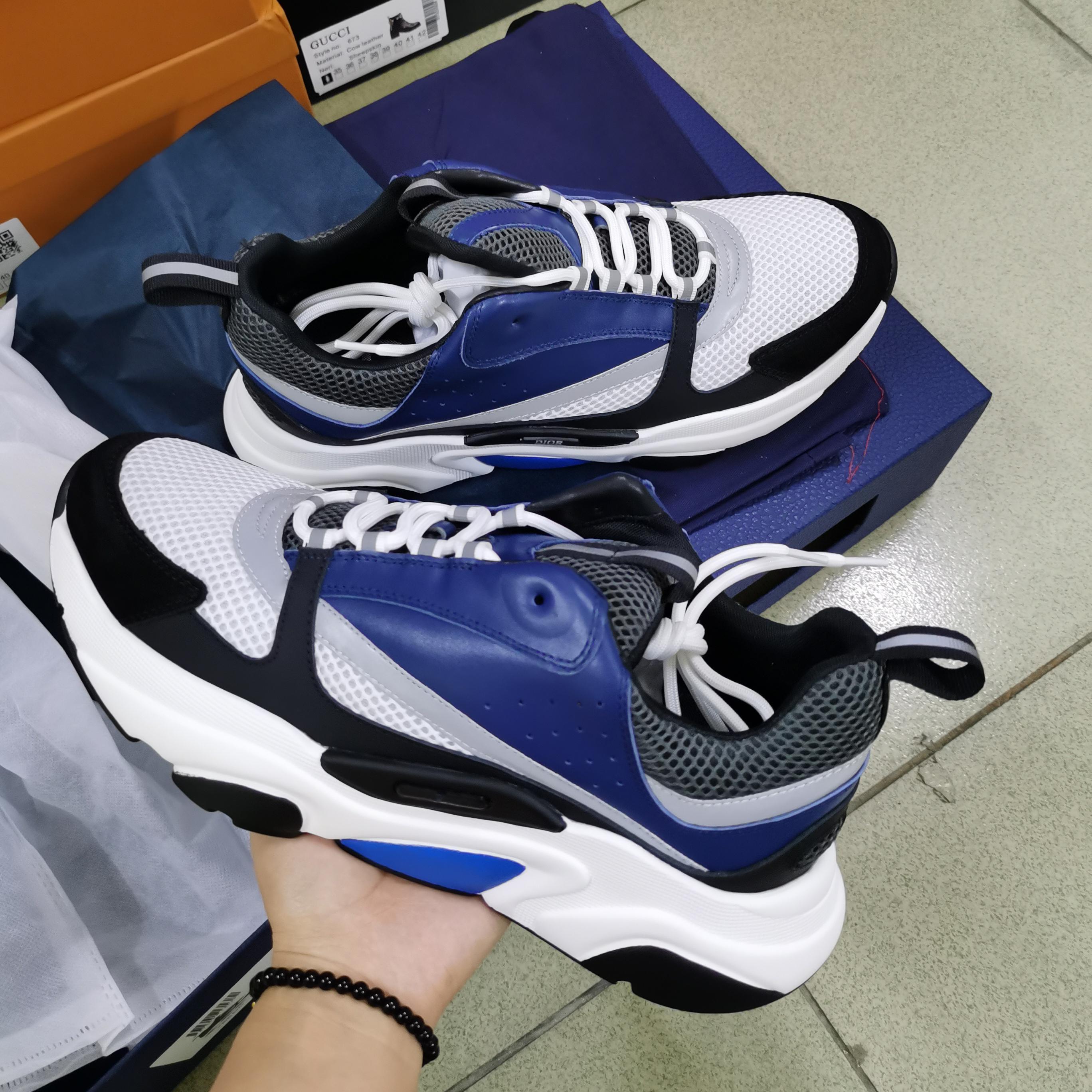 Erkekler Kadınlar B22 Homme Sneaker Yansıtıcı Hava Sneakers Platformu Ayakkabı Canvas Dana derisi Kutusu ile Eğitmenler Mavi Kadınlar Dantel-up Casual ayakkabılar yazdır