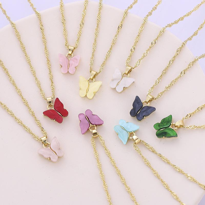 Fashion Butterfly necklace Acrylic butterfly pendant gold chains necklaces for women fashion jewelry gift will and sandy new