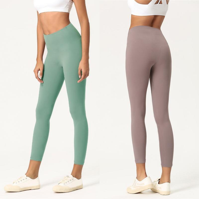 Cor sólida Mulheres calças de yoga cintura alta Gym Sports Wear Leggings Elastic aptidão Senhora geral completa calças justas Workout Womens Pants