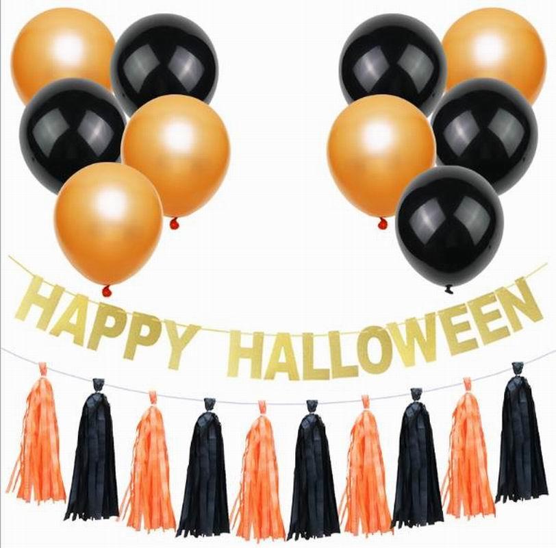 ornements Halloween 5pcs / lot bricolage papier tissu Tassel Garland pour le festival Halloween Kids Party Décorations montrent Fournitures Favors