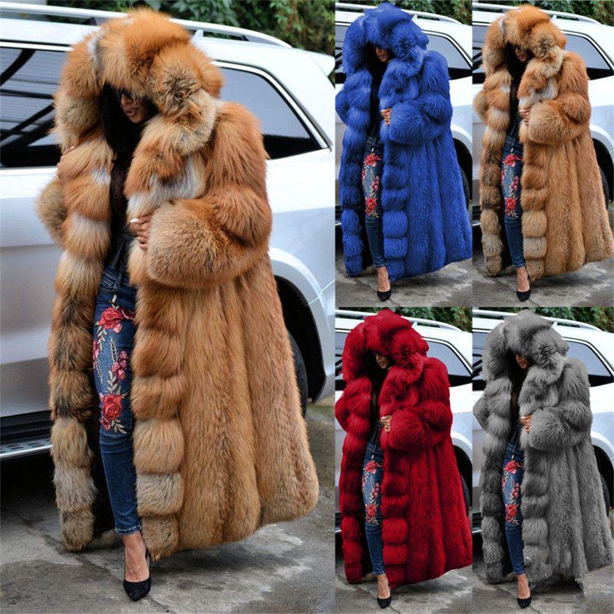 Faux Kürk Bayan Mont Kapşonlu Uzun Kollu Kalın Katı Renk Gevşek Giyim Moda Kış StreetStyle Kadın Giyim