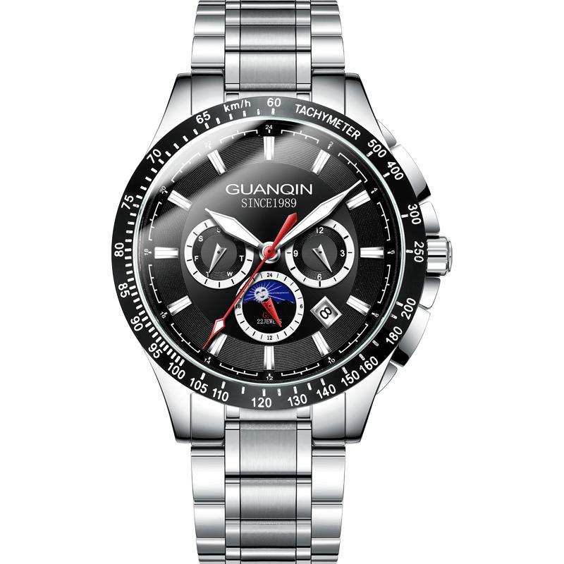 Guanqin Mechanical watch Men Automatic Male Clock Fashion Sport Waterproof Watches Week Date Business Wristwatch reloj hombre