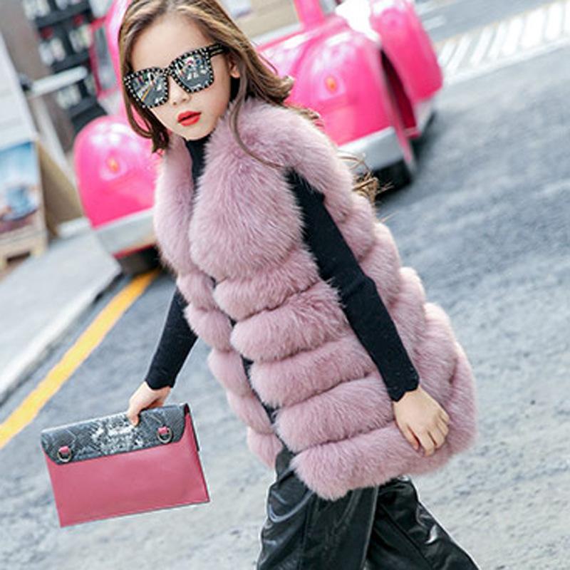2019 Kış Yeni Kore Sürüm Moda Kız Yelek Çocuk İmitasyon Kürk Uzun Palto Kızlar Sıcak Yuvarlak Prenses Yelekler tutun