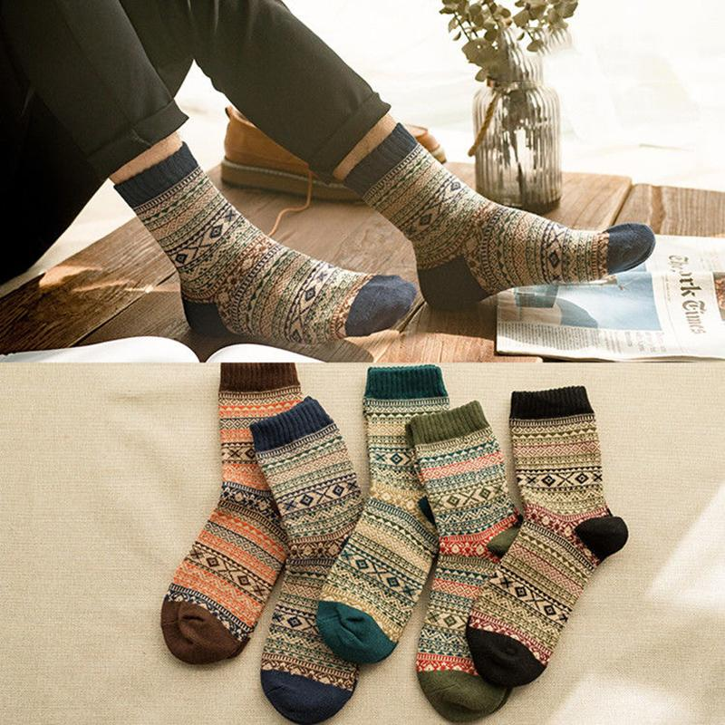 Casual Mens Soft Thick Warm Socks High Quality Soft Dress Sock Against Cold Warm Wool Socks Retro Casual Crew Breathable