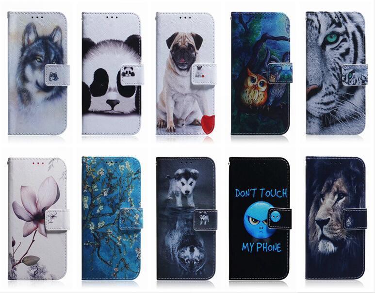 Portefeuille en cuir coque pour Samsung Note 20 Ultra LG K61 K51 K41 Aminal Flower Lion Panda Dog Loup Tiger ID Slot pour carte COUVERTURE Pouches Holder
