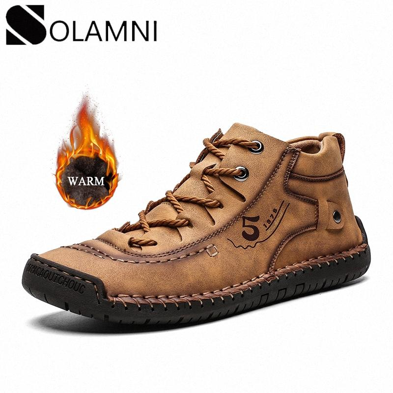 Classic Mens Ankle Boots Winter Warm Fur Leather Boots For Male Comfortable Anti Slip Plush Lace Up Flat Shoes Big Size 48 FZek#